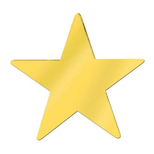 Club Pack of 12 Starry Night Themed Jumbo Gold Metallic Foil Star Cutout Party Decorations ()