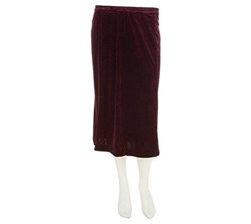 Bob Mackie Stretch Velvet Lined Mid Length Pull-On Skirt Plum L New A239159# (Velvet Lined Fully Skirt)