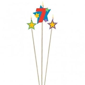 3 Cumpleaños velas estrellas Número 7: Amazon.es: Juguetes y ...