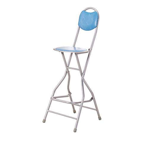 (Be&xn Barstools with Back, Folding Chair, Metal Pub Chair, Counter bar Stool Studio Chair for bar Home-Blue D31xH101cm(12x40inch))
