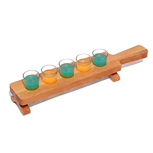 Tequila Flight Paddle with glasses Set of 5 | Thick Wooden Serving Base | Barware, Shot | Whiskey, Brandy, Vodka, Rum, Cocktail Serveware| Home, Bar Tasting Accessory | For Party Pro Bartenders (Flight Tasting Shot Glass)