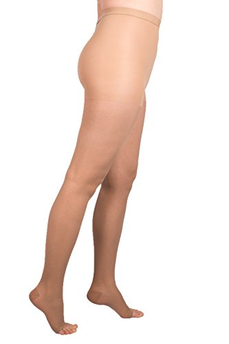 (EvoNation Women's USA Made Open Toe Compression Pantyhose 15-20 mmHg Moderate Pressure Medical Quality Ladies Waist High Sheer Support Stockings -Best Circulation Panty Hose XXXL (3XL, Tan Beige Nude))