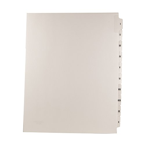 Blumberg Roman Numeral Index Tab Dividers, Collated Sets of 10 Roman Numerals I-X, Letter Size, Side Tabbed, Not Punched, 2 Sets per Package (1 Package)