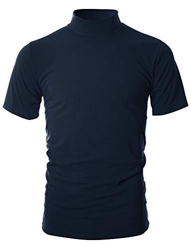 (UUANG Mens Premium Loose Fit T-Shirts Stand Collar Basic T Shirt (Navy)