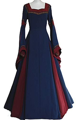 LETSQK Retro Gothic Medieval Dresses Irish Victorian Halloween Costume Gown Blue S ()