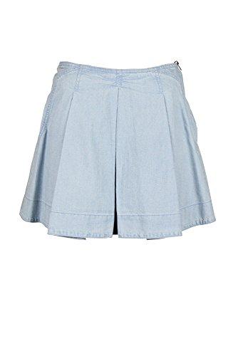 O2nd Womens Light Blue Pleated Exposed Side Zip Full Denim Skirt 2