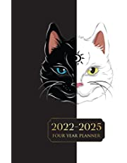 2022-2025 Four Year Planner: Four Years Monthly Planner Calendar Schedule Organizer January 2022 to December 2025 (48 Months) With Federal Holidays and inspirational Quotes (Black & White Cat)