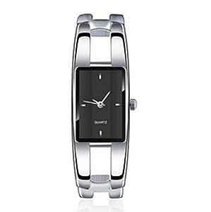 Vavna Womens Ladies Stainless Steel Black Dial Bracelet Wrist Watch Quartz