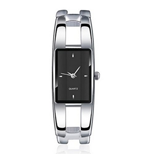 (Vavna Womens Ladies Stainless Steel Black Dial Bracelet Wrist Watch Quartz (Rectangle))