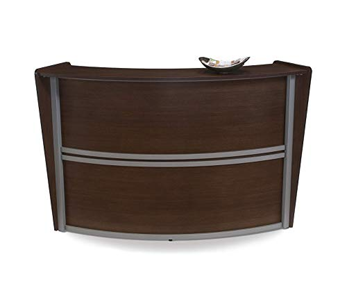 Оfm Deluxe Premium Collection Single-Unit Curved Reception Station Walnut Decor Comfy Living Furniture