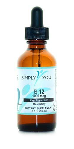 Vitamin B12 by Simply You | Raspberry-Flavored Liquid Supplement for Nervous and Immune System Support | Organic, Vegan, Gluten Free | 1000 mcg Fast Absorption