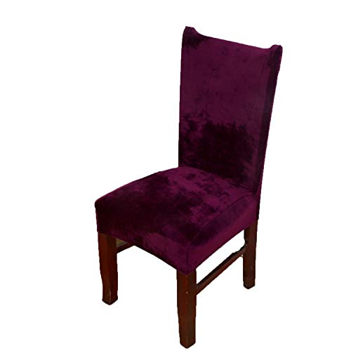 (meiguiyuan Spandex Velvet Dining Chair Cover Dustproof Stretch Chair Covers for Wedding Banquet Hotel Home Decor Slipcover funda para Silla,Style 24,Free Size)