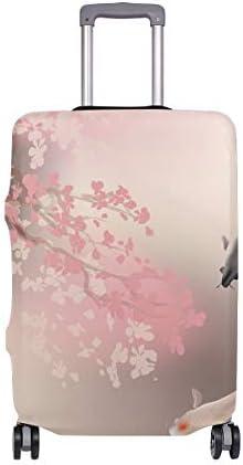 (ソレソレ)スーツケースカバー 防水 伸縮素材 キャリーカバー ラゲッジカバー 和風 鯉 魚 ピンク 花柄 エレガント 可愛い おしゃれ 防塵 旅行 出張 便利 S M L XLサイズ