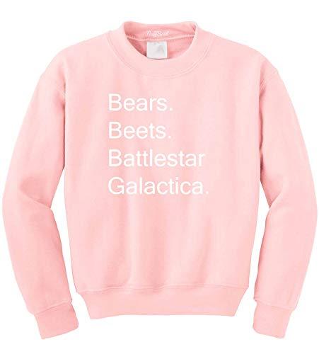 NuffSaid Beets Bears Battlestar Galactica Crewneck Sweatshirt Sweater Jumper - Unisex Crew (Small, Light -