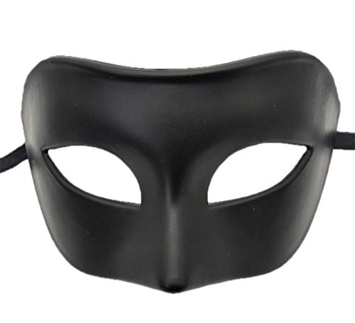 Mens Masquerade Mask Vintage Greek Roman Mask Venetian Party Mask Halloween Mardi Gras Mask (Black) ()