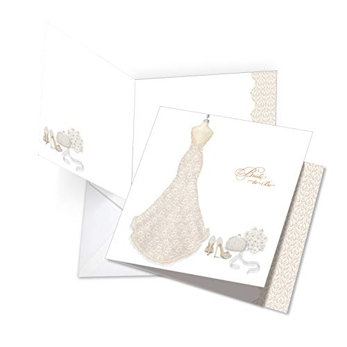 JQ5060BTG Jumbo Bachelorette Square-Top Card: Bride-To-Be Featuring An Artsy Image Of A Bridal Dress form, with Envelope 8.5 x 11 Inch