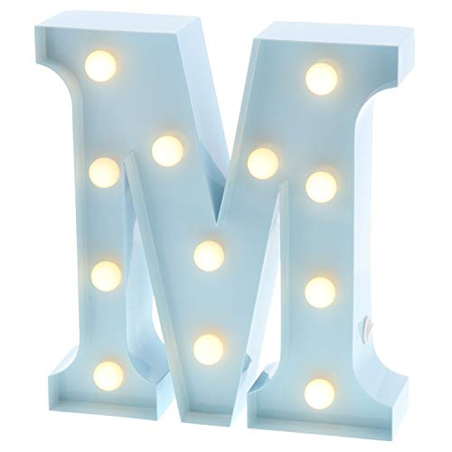 "Barnyard Designs Metal Marquee Letter M Light Up Wall Initial Nursery Letter, Home and Event Decoration 9"" (Baby Blue) ()"