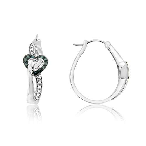 NATALIA DRAKE Sterling Silver 1/10cttw Blue Heart Diamond Earring Diamond Heart Leverback Earrings