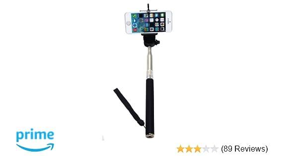 Amazon.com: Black Selfie Stick Extendable Handheld Monopod Pole with ...