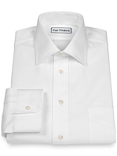 Paul Fredrick Men's Pinpoint Windsor Spread Collar Button Cuff Dress Shirt White (Button Cuff Oxford Shirt)