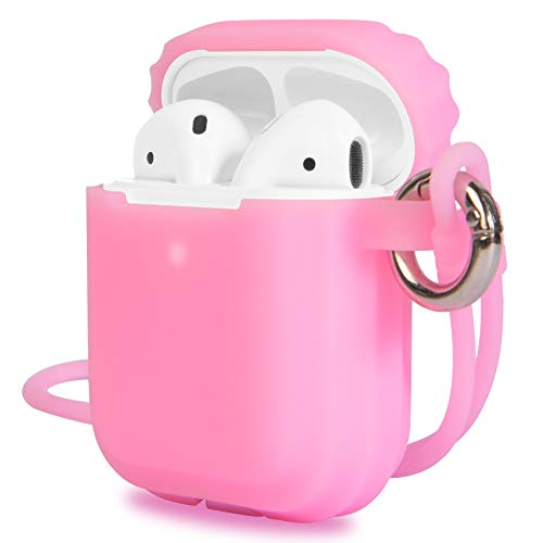 Silicone Skin - AirPods 2 Case Cover, Updated Version Silicone Protective Case and Skin for Airpods Charging Case,Support Wireless Charging with Front LED Light Visible (Mist Pink)