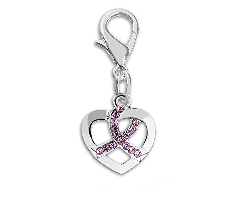 (Breast Cancer Awareness Small Heart Ribbon Hanging Charm (1 Charm - Retail))
