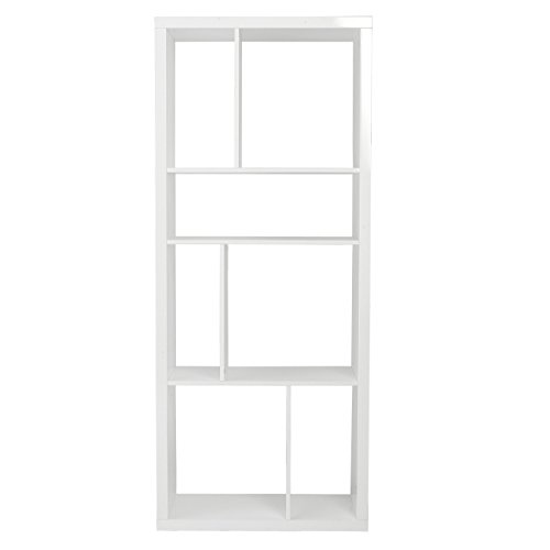 Eurø Style Reid Abstract Shelving Unit or Media Stand, White High Gloss Lacquer