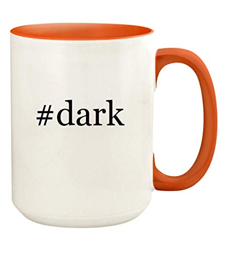 #dark - 15oz Hashtag Ceramic Colored Handle and Inside Coffee Mug Cup, Orange