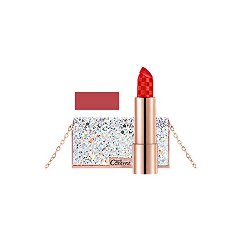 Velvet Lipstick With Diamond Chain Bag&Mirror - Shining Diamond Bag &Long-Lasting Lipstick (E)