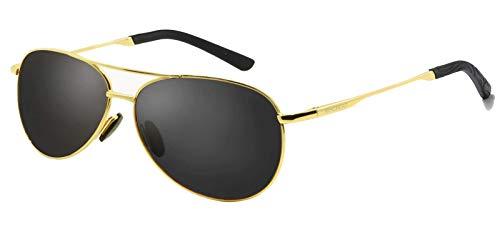 Sol Oro WHCREAT Marco Unisex Marco Ultra Gafas Light de y Metal Mujer Negro para Hombre HD con Lente Polarizadas Ajustable Lente 02 De Clásico AfIqwHf
