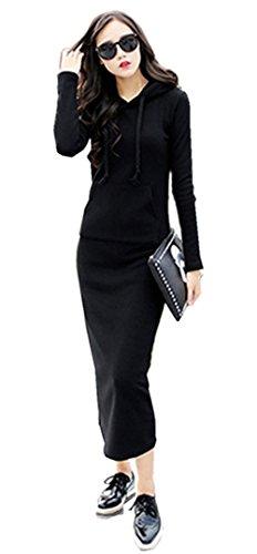 Globalsellinc Women's Long Sleeve Crewneck Tunic Sweatshirt Pullover Long Hoodie Dress (X-Large, Black)