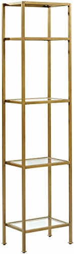 Crosley Furniture CF6114-GL Aimee Narrow Etagere Bookcase, Gold and (Gold Shelf)