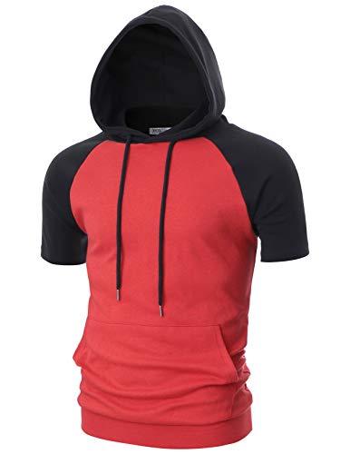 OHOO Mens Slim Fit Short Sleeve Lightweight Raglan Zip-up Hoodie with Kanga Pocket/DCF123-RED/BLACK-S