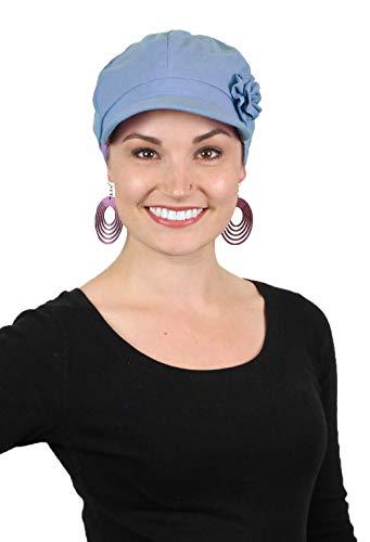 - Newsboy Cap Summer Hats for Women Cotton Cancer Headwear Chemo Hair Loss Head Coverings Brighton (Chambray Blue)