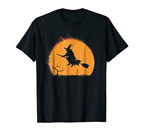 Halloween Witch Shirt - Funny Riding Broom During Eclipse -