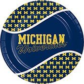 Christmas University Plate (Pack of 96 NCAA Michigan Wolverines Round Tailgate Party Paper Dinner Plates)