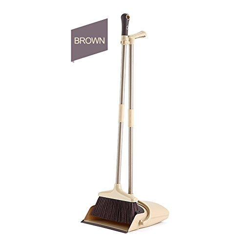 Dust pan and Broom Combi Artifact Standing Upright Foldable Set Home or Office Sweep (Cream)