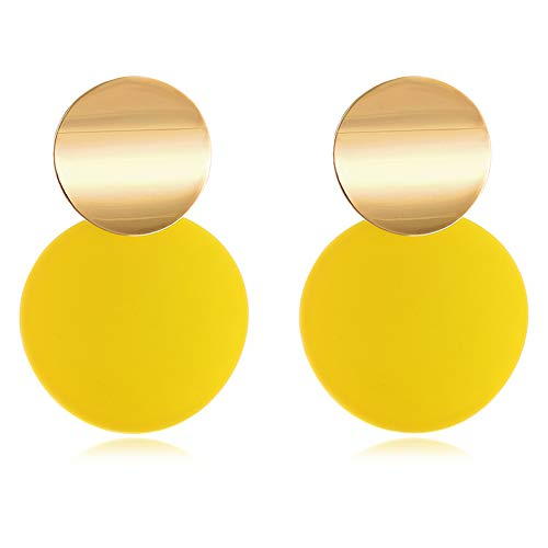 (LILIE&WHITE Yellow Round Curved Discs Drop Earrings with Matte Paint for Girl Jewelry, Hypoallergenic)