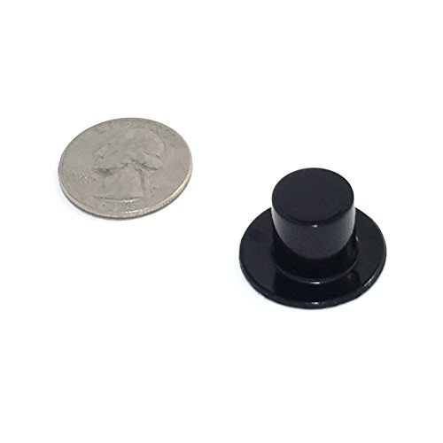 Miniature Top Hats - Black Plastic - 24 x 15mm (or 0.94in. X 0.59in., 24/pcs) (Hat rim is diameter of a quarter) -