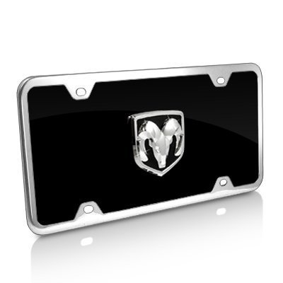 Au-Tomotive Gold, INC. Dodge RAM 3D Logo Black Acrylic License Plate with Chrome Frame Kit ()