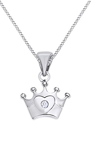 AFFY White Natural Diamond Accents Crown Pendant Necklace in 14k White Gold Over Sterling Silver ()