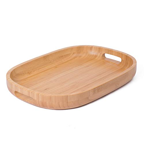 Bamboo Wood Serving Tray with Handles - Rustic Breakfast Tray Ottoman Tray Decorative Oval Butler Tray for Food, Coffee and Tea - 17