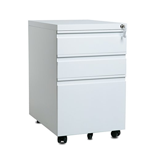 Merax 3-Drawer Mobile File Cabinet with Keys, Fully Assembled Except Casters (White) - Filing Cabinet Casters