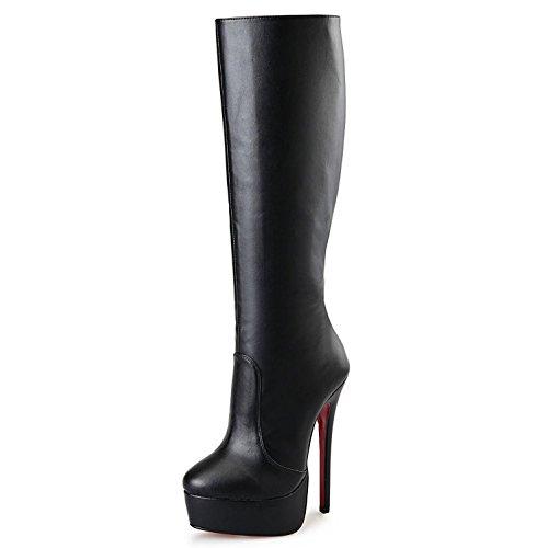 Hiver YC Automne de Bottes Zipper Toe Bottes Pour Bottes Similicuir L Party D'Équitation Mode Genou Hautes Casual Chunky Talon Femmes black Chaussures Pour XvwWdqY