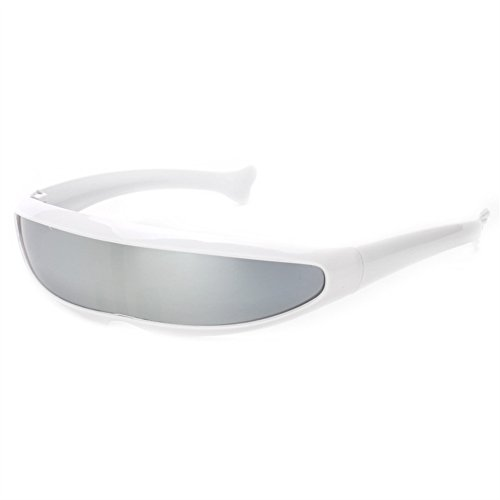 Futuristic Narrow Cyclops Sunglasses UV400 Personality Mirrored Lens Costume Eyewear Glasses Funny Party Mask Decoration (White, Silver), Medium]()