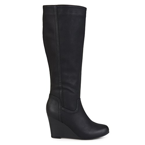 Brinley Co. Womens Regular and Wide Calf Round Toe Faux Leather Mid-Calf Wedge Boots Black, 7 Regular (Mid Calf Wedge Boots)
