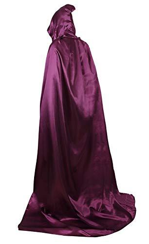 (frawirshau Unisex Hooded Cloak Cape Full Length Halloween Cosplay Costumes Masquerade Cloak Purple)