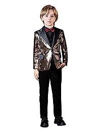 Fersumm Boys' Sequin Shiny Suits Stylish 5 Pieces Slim Fit Suit Set Tuxedos for Party