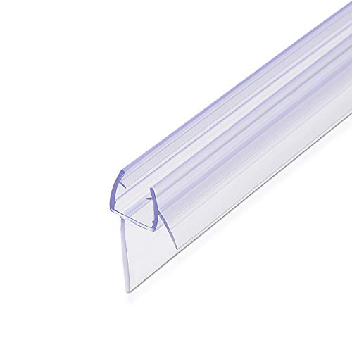 Navaris Shower Screen Door Seal - Replacement PVC Splash Guard Seal Strip for 8mm Glass Shower Door with 45 Degree Angled Drip Ledge - 3.3ft Long