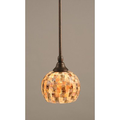 Toltec Lighting 23-BRZ-407 Stem Mini Pendant with Hang Straight Swivel with 6″ Sea Mist Seashell Glass, Bronze Finish